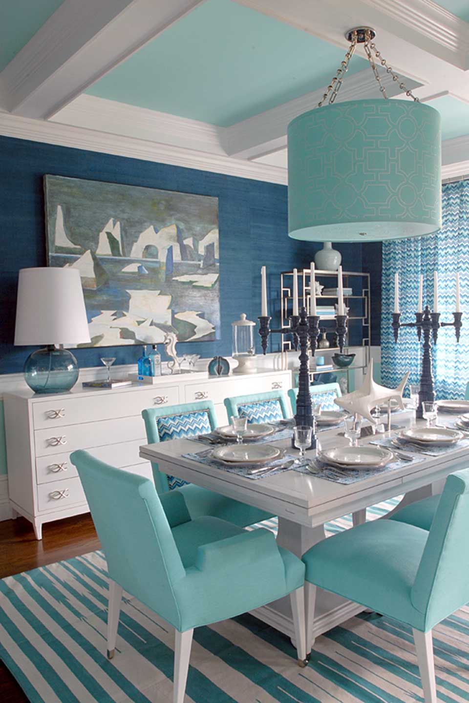 The Dunes & Duchess 4 arm candelabra in a room designed by Mabley Handler