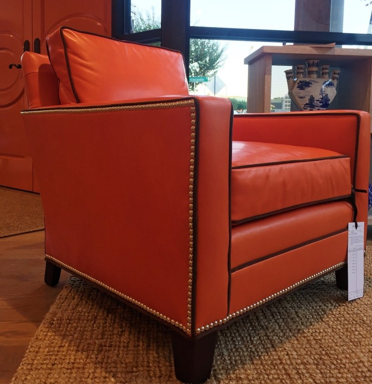 A Wesley Hall chair inspired by Hermes Orange. Image via Inspired to Style