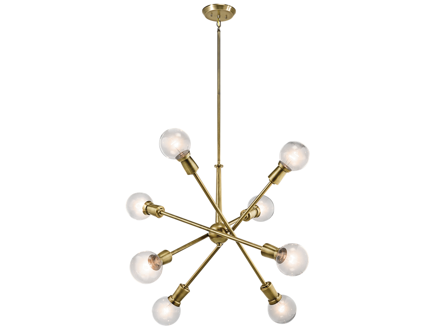 Armstrong 8 Light Large Chandelier in Natural Brass