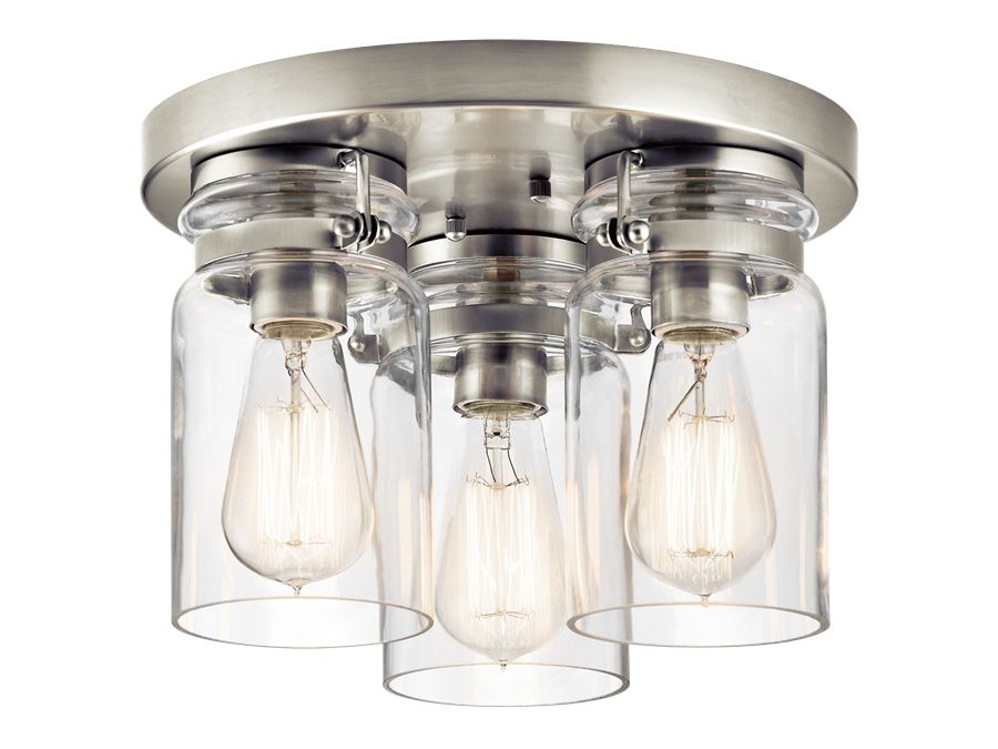 Brinley 3-Light Flush Mount in Brushed Nickel