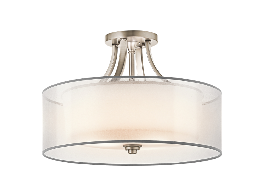 Lacey 4-Light Semi Flush Ceiling Light in Antique Pewter