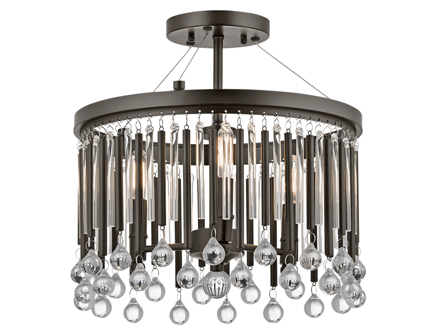 Piper 3 Light Semi Flush Mount in Espresso