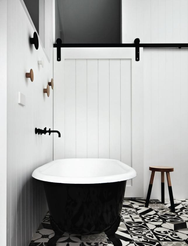 white black bathroom tile