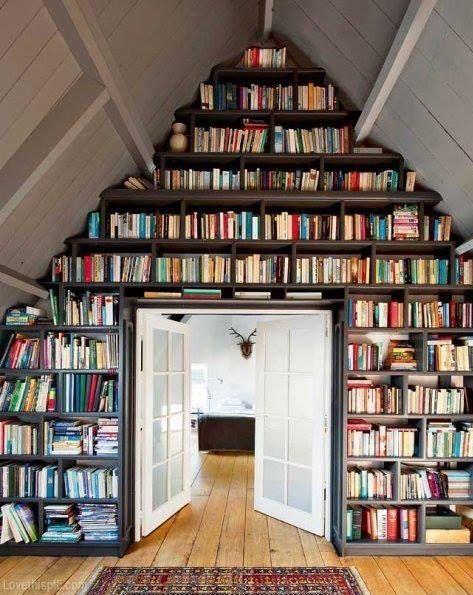 attic office space bookshelves -