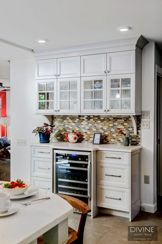 built-in wine storage in the kitchen