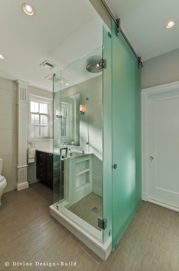bright glass walled shower stall