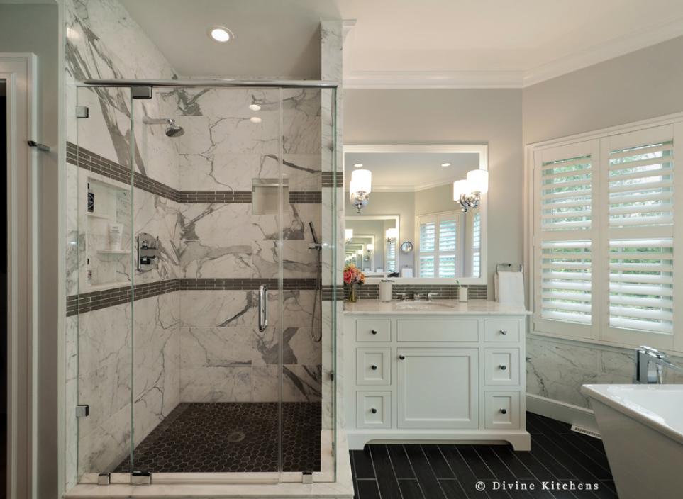 carrara marble shower surround