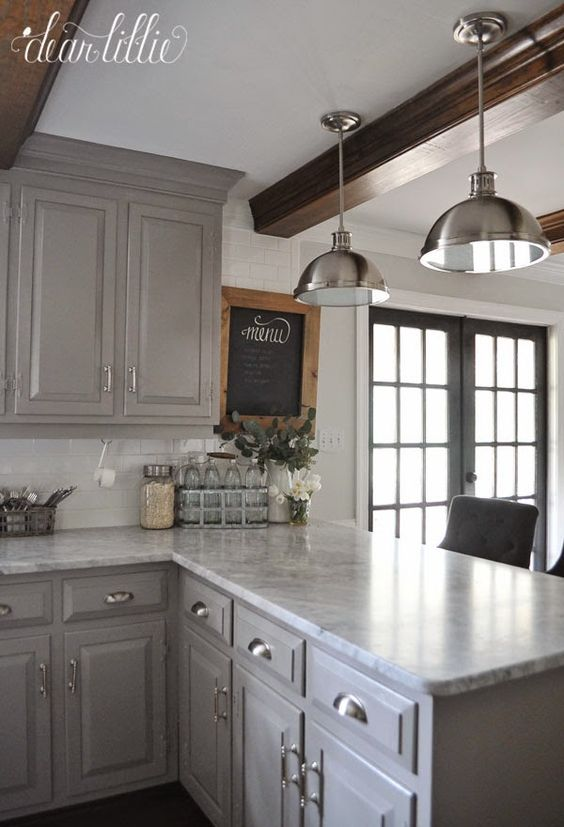 gray kitchen cabinets - dear lillie