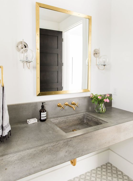 mixed metal bathroom design - image-via-style-me-pretty