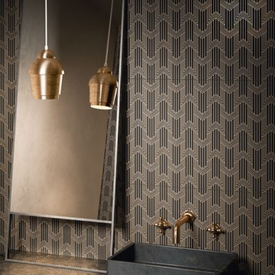 Ermanno Field Tile In Geometric Black On Gold