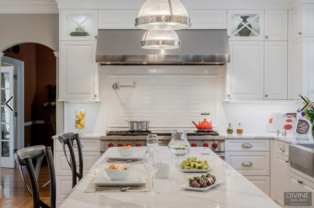 Among the many variations on traditional white subway tile: this elongated gray version which pairs beautifully with white cabinetry and silver-toned ... & 8 Pictures of Kitchens With Subway Tile Backsplashes \u2014 Divine Design ...