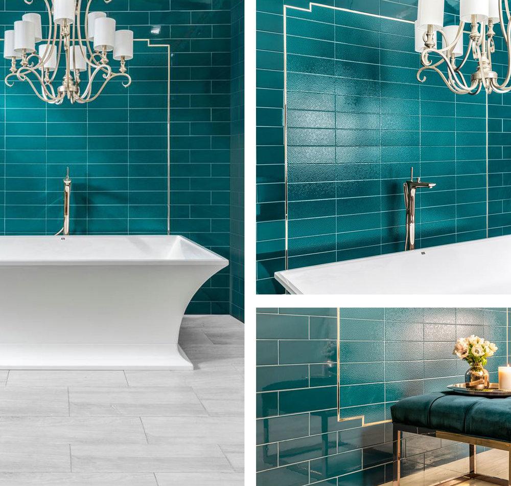aqua tiles, bathroom tiles, cool tiles, hammered tiles, subway tiles, glossy tiles, polished, green, turquoise, green tiles, classy bathroom, bathtub, traditional, matthew quinn
