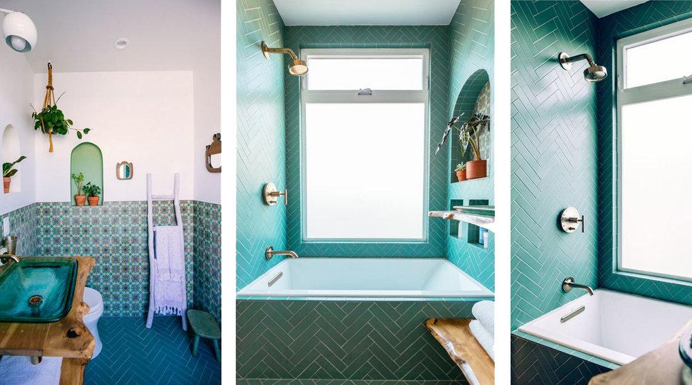 aqua tile, aqua tiles, teal tiles, bohemian bathroom, green, green tiles, turquoise, turquoise tiles, rustic bathroom, jungle green, marrs green, herringbone tile, herringbone tiles, mosaic tiles, bohemian interiors, hanging plants