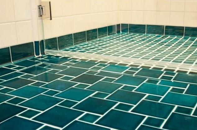 bathroom, spa, tile shower, green tiles, marrs green, tile floors, glass tiles, aqua tiles, fireclay tiles, fireclay, traditional, transitional
