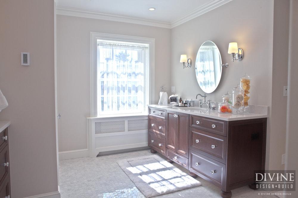traditional master bathroom simple traditional style bathroom with dark walnut vanity and glass knobs marble countertop shower boston brookline elegant master bathroom suite divine