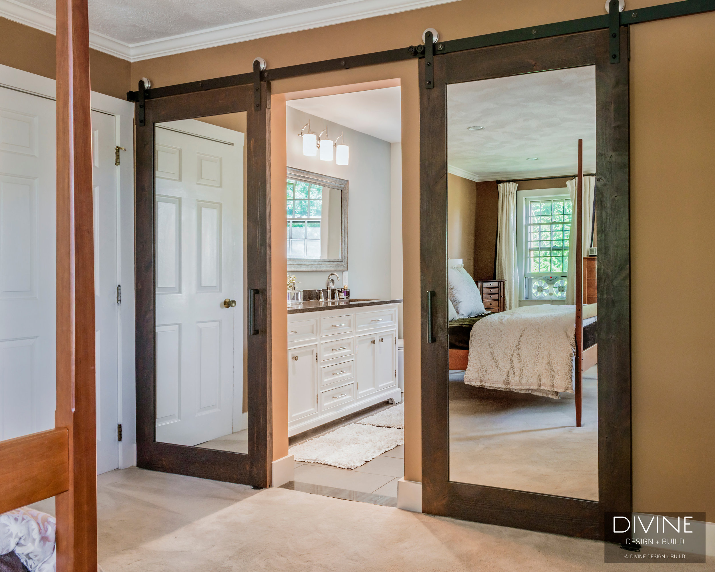 Boston Dover Transitional Master Bathroom Barn Doors