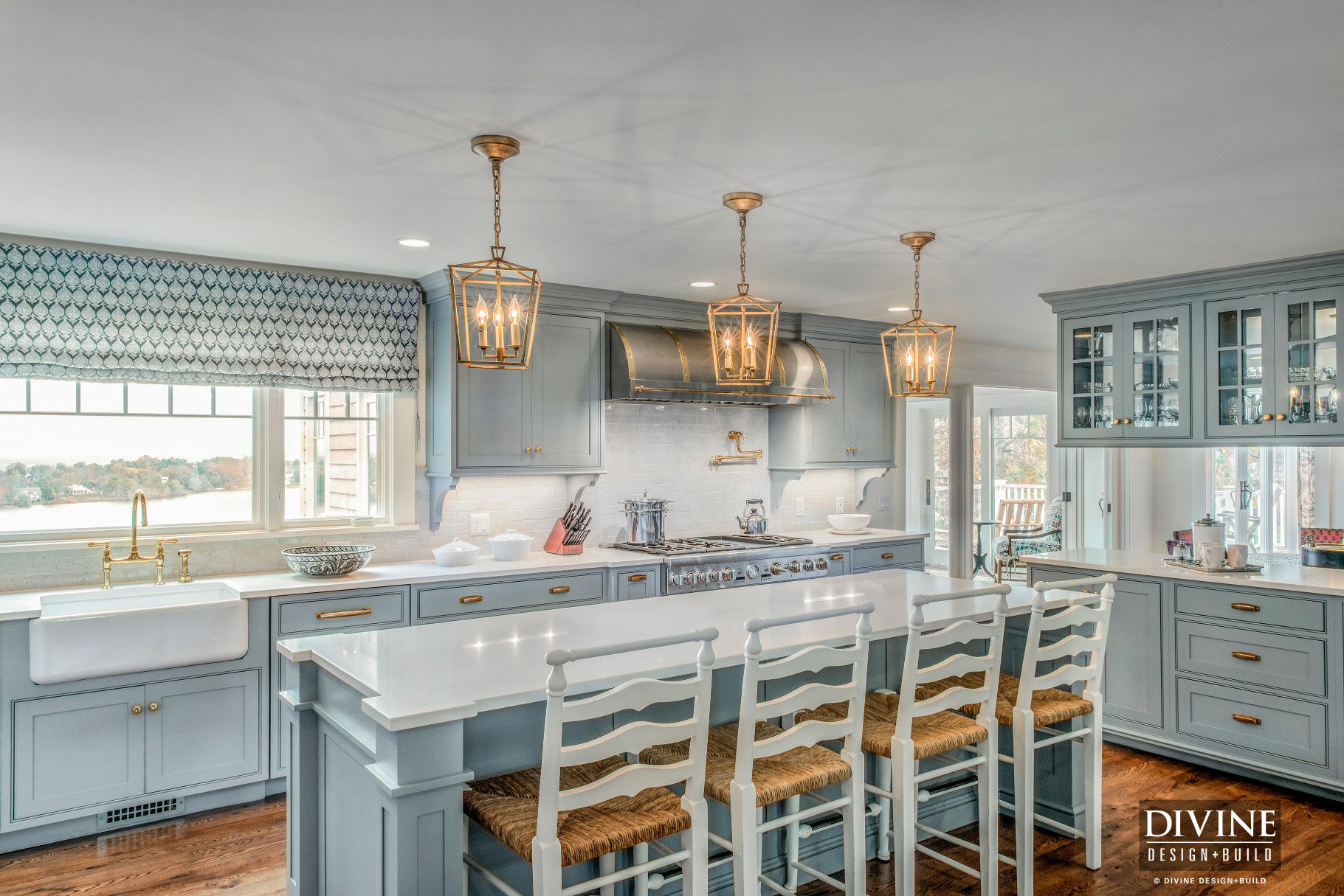 Cape Cod Traditional Kitchen with Gold Copper Accents ...