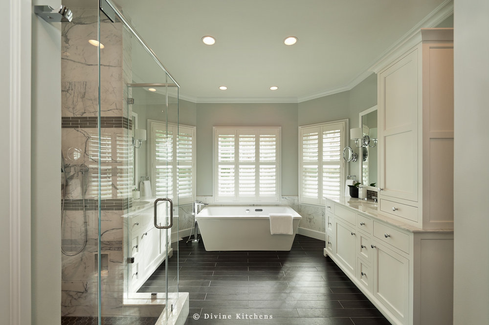Bathrooms - A master bathroom should be a retreat from the outside world, your own in-house spa. This personal space should function efficiently and reflect your unique style. After all, this is where you prepare to face the coming day, and where you unwind at the end of it. Is it time to add a spa tub? A walk-in shower with natural stone tile and multiple jets?  Expand the space into an existing closet?  Or simply update the fixtures?And if it's your guest or family bathroom, our designers will create a welcoming and comfortable space that maximizes square footage and makes your guests feel pampered. Plus, small, but frequently used half-bathrooms are a great place to 'go bold.' Inspiring bathrooms that feature unexpected design elements set your house apart…all without breaking the bank.