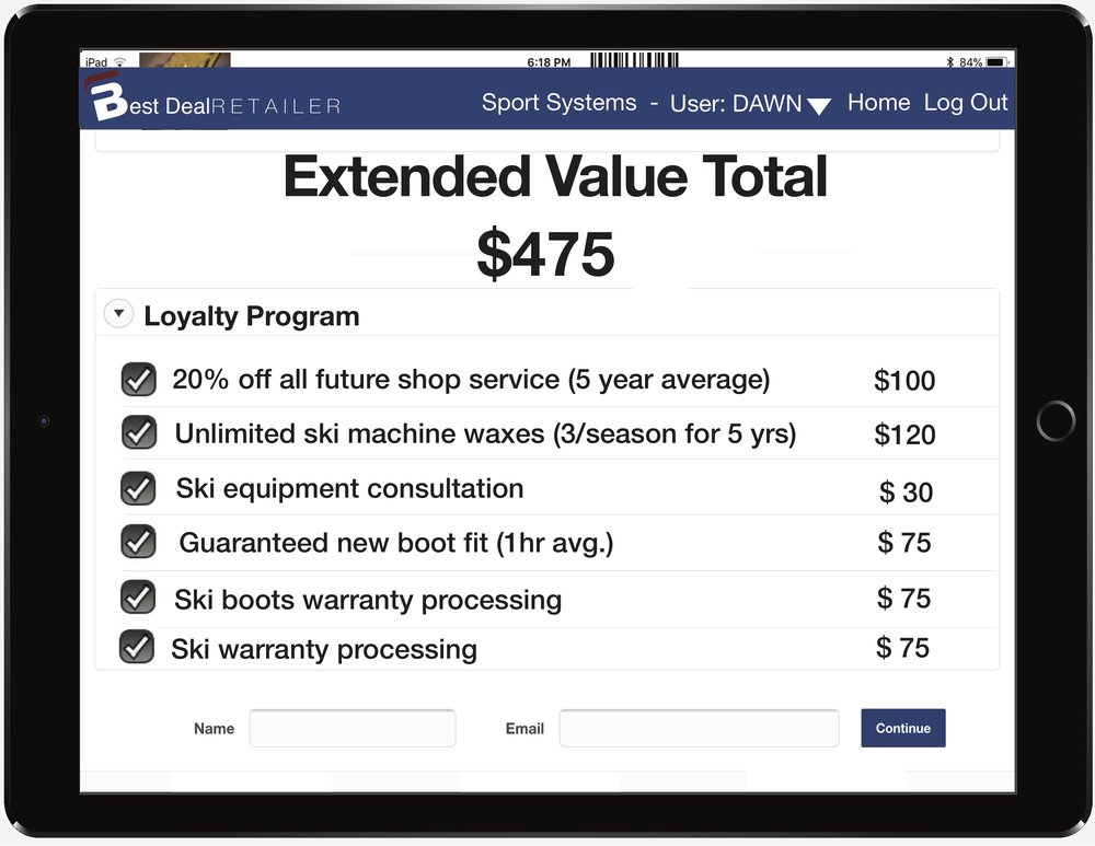 This shows the loyalty program, which gives the customer hundreds more in value over the next few years.