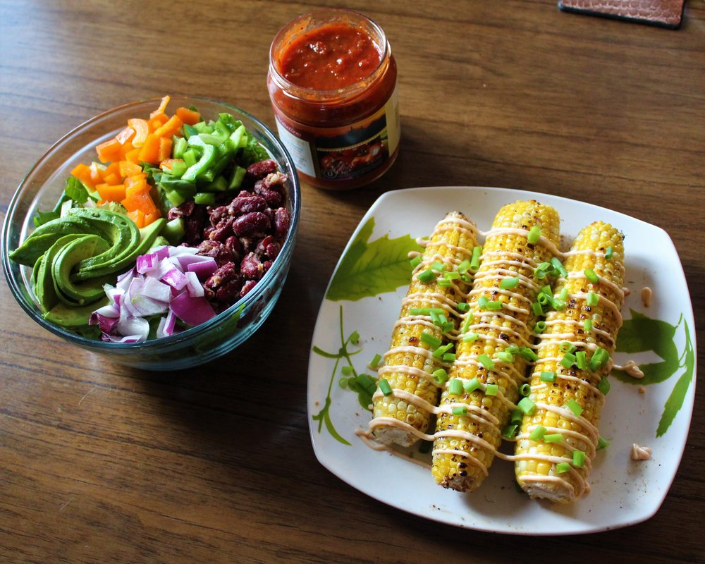 Mexican Roasted street Corn with taco salad