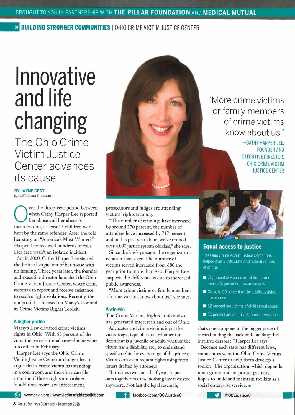 Advancing a Cause - 2018 - Ohio Crime Victim Justice Center was featured in The Pillar Foundation and Medical Mutual magazine