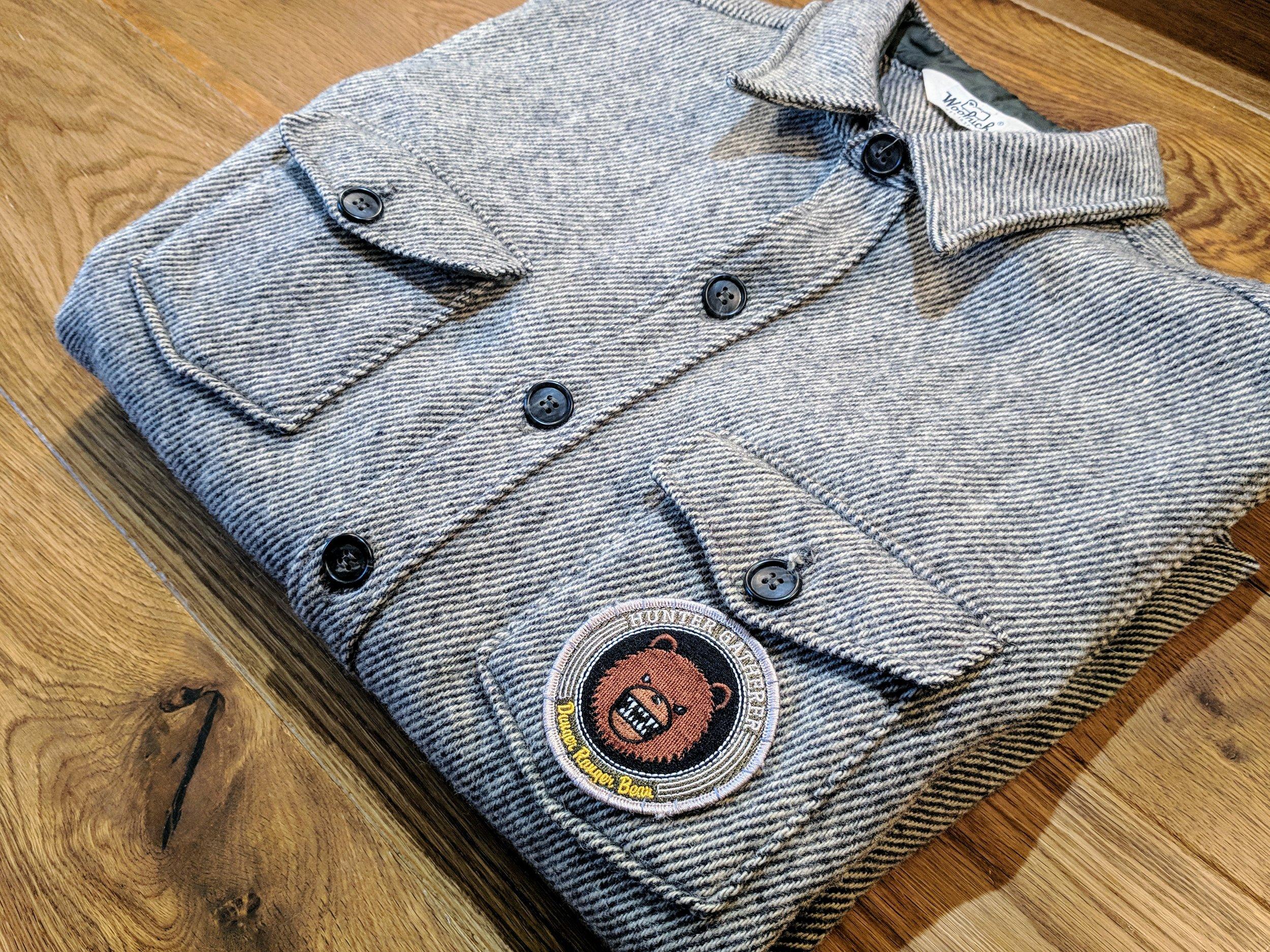 e3da8d5cb347e Hunter Gatherer Danger Bear Patch X Thick Woolrich Shirt Jacket   Size  Medium  . Vintage Woolrich Shirt Jacket