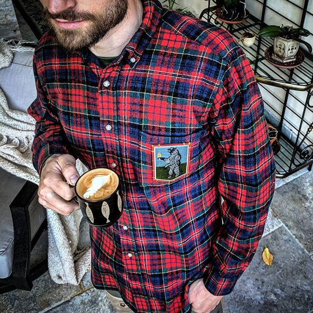 "How do you coffee?  This #blackbear likes his brewed with fresh river water, fattened up with a little salmon oil, and of course sweetened with some delicious raw honey.  Oh and he likes it on 🔥too, obviously!  Vintage Pendleton from the 70's patched to perfection with this #ignemferam patch from @prometheusdesignwerx -- ""Ignem Feram"" is a Latin phrase that means the bearer of light or the light bearer.  Funny play on words with this black bear holding the torch.  But I see this patch as a sign of hope, inspiration, and motivation to own up to the responsibility of your life.  Be a bearer of the light and truth and hold yourself accountable to what's best for the group and not just yourself.  I love repping this shirt and explaining the meaning behind it when people ask!  I wear it as a reminder to embrace and enjoy doing the right thing even when it is not the easiest!  #feelgood , #lookgood , #playgood  #sustainableclothing  #coloradoclothing  #upcycledclothing  #vintageclothing  #patches  #patchwork  #patchedperfection  #lightbearer  #firebear  #bearsighting  #pendleton  #vintageflannel  #coffee #morningritual  #latteart  #baristababes  #thrifted  #upcycled  #repurposed  #renewed  #patchecology"