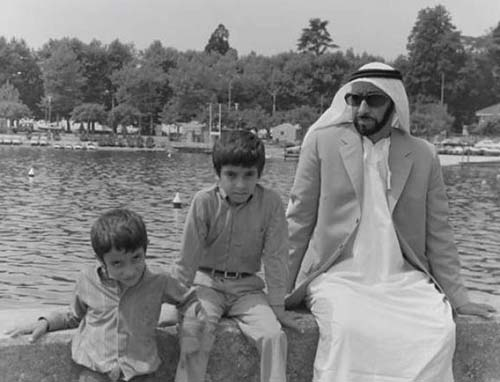 Image from Gulf News: Sheikh Zayed on holiday in Lausanne, Switzerland, with his sons, Shaikh Hamdan Bin Zayed and Shaikh Hazza Bin Zayed.