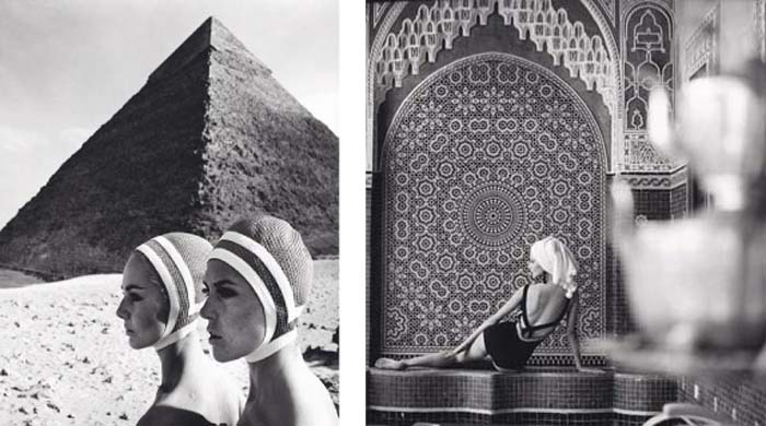 "© F.C. Gundlach Left: ""The Cheops pyramids"", Karin Mossberg and Micky Zenati in Op Art-Fashion, Gizeh/Egypt 1966 Right: Lissy Schaper for Triumph, Tanger/Marocco 1964"