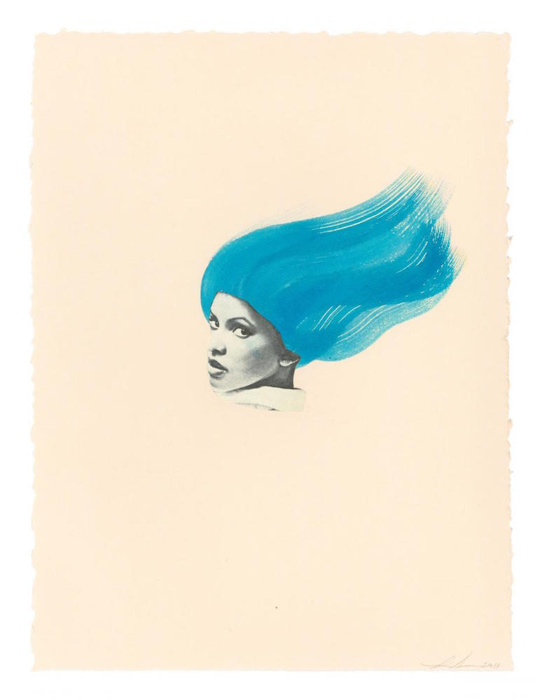 Lorna Simpson, Blue Wave, 2011. Collage and ink on paper, 11 x 8 1/2 in. (28 x 21.6 cm). The Studio Museum in Harlem; gift of the artist on the occasion of the Romare Bearden (1911–1988) Centennial and the Bearden Project. © Lorna Simpson, courtesy the artist and Hauser & Wirth.