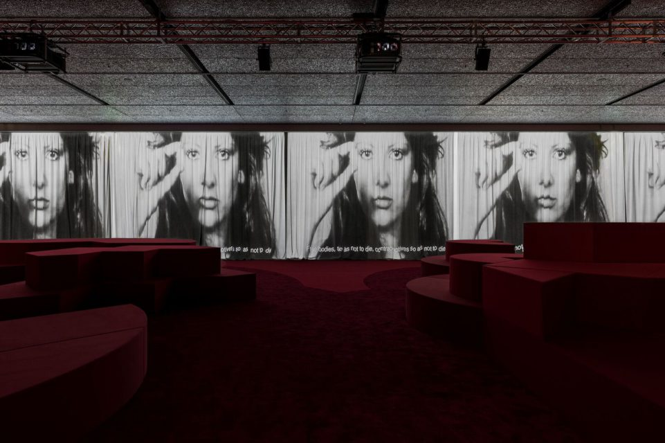 TV 70: Francesco Vezzoli Watches Rai, Prada Foundation, Milan. Exhibition view. Photo Delfino Sisto Legnani amd Marco Cappelletti.