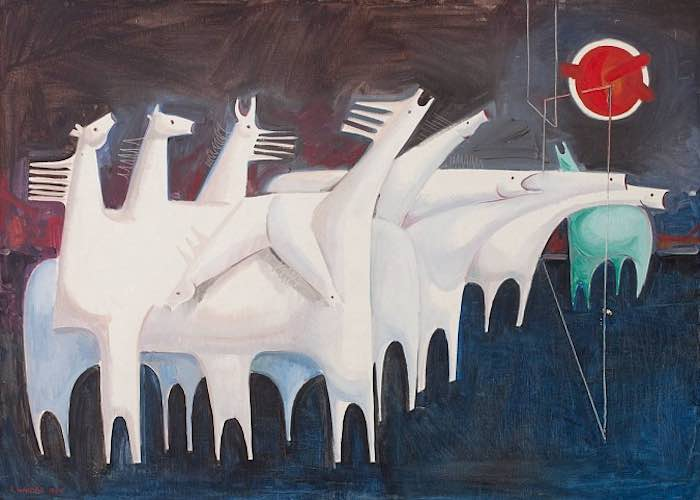 Kadhim Haidar - Fatigued Ten Horses Converse with Nothing (The Martyr's Epic), Oil on canvas 91 x 127 cm, 1965
