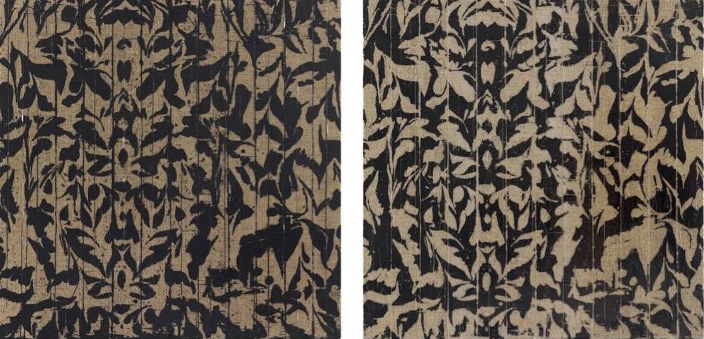 Left: Gregor Hildebrandt - Dirty, video tape on canvas, 30 x 30.5 x 2.5 cm (2014) Right: Gregor Hildebrandt - Dancing, video tape on canvas, 30 x 30.5 x 2.5 cm (2014)