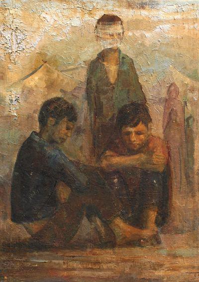 Abdul Qader Al Rais - Al Intithar (The Wait), 1968. Oil on canvas, 79 x 57 cm. Image provided by the artist.