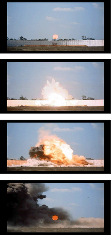 Exploding Warhead (2007) shows a test of an MK-84 IM (Insensitive Munition) Warhead conducted at the Eglin Air Force Base Air Armament Center, in Florida. The Air Armament Center is responsible for the development, testing and deployment of all U.S. air-delivered weapons. This film was taken using a remote sequencer that detonated the warhead from a control bunker.