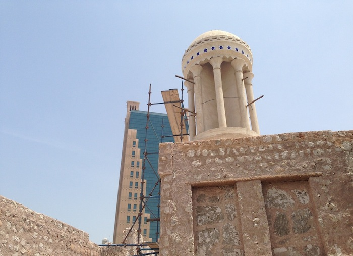Another original building that is being restored, this house is called Majlis Al Midfaa and has a unique looking round (and slightly leaning) windtower