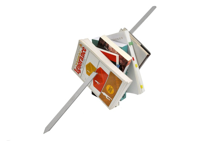 Slavs and Tatars 0 Kitab Kebab (Mexico, I), 2012 | Books, glue, metal skewer, 50x50x50cm