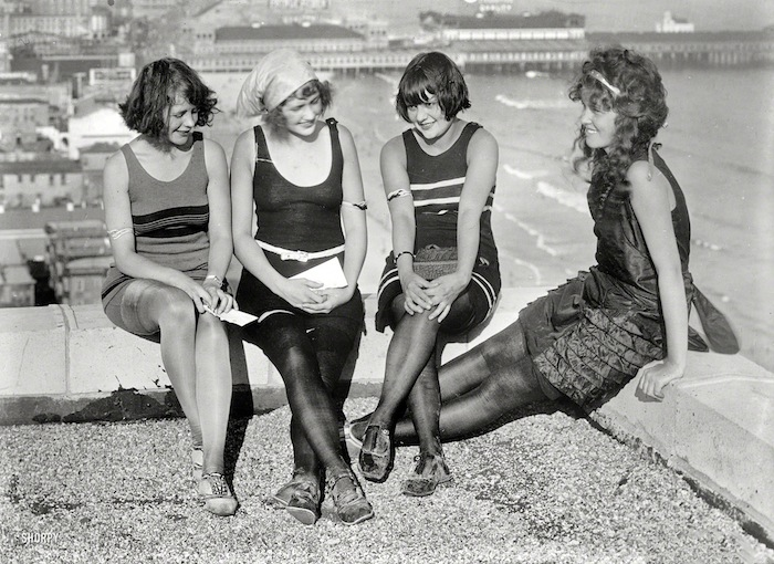"Atlantic City circa 1922. ""Four young ladies on a roof."""