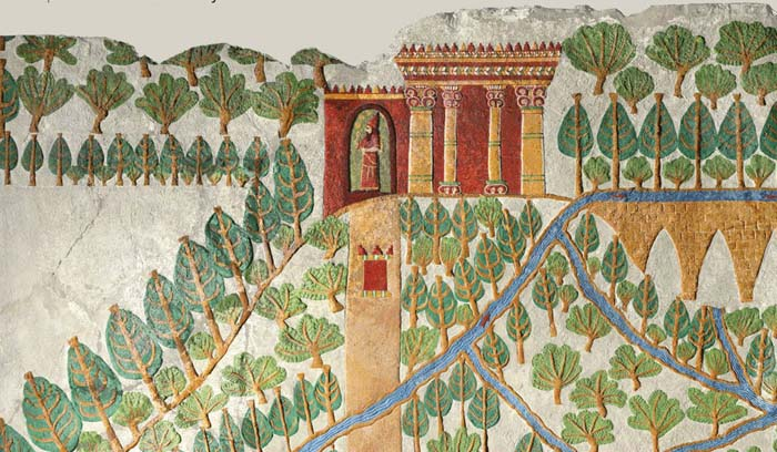 Babylonian Gardens. Restructured colouring of a sculptured relief. © The Trustees of the British Museum