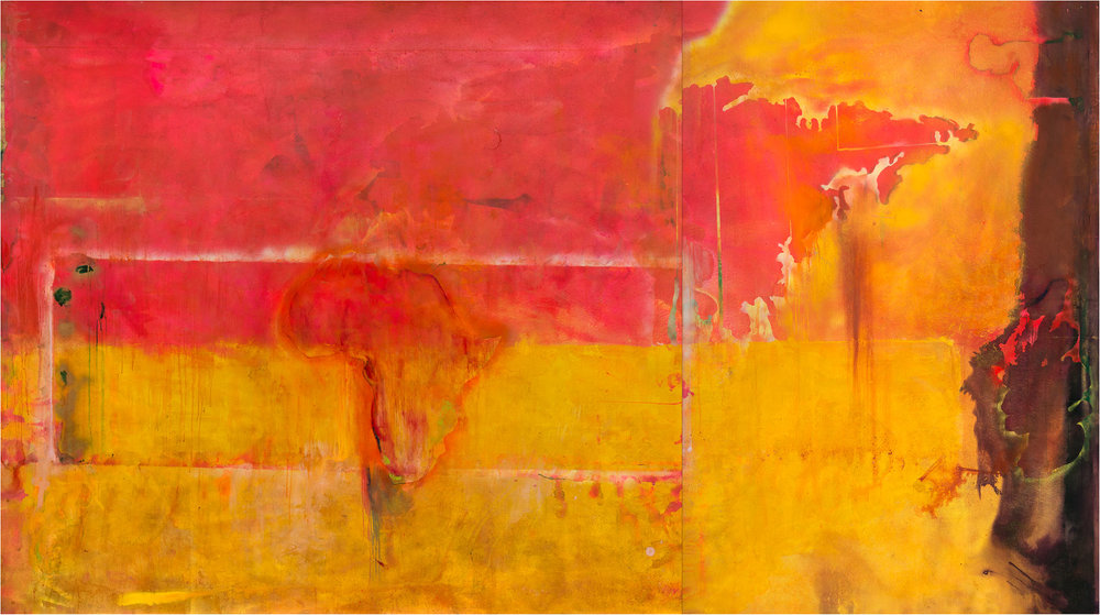 Frank Bowling,  Dog Daze (A to A) , 1971 | Diptych; acrylic and spray paint on canvas | 273.6 x 492 cm | Private Collection, Germany