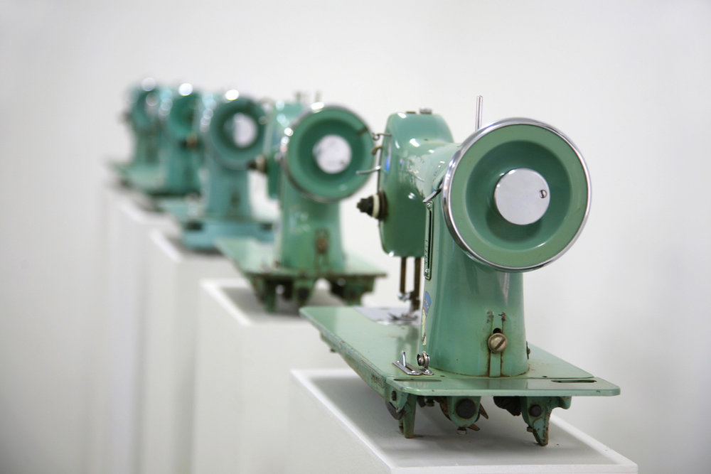 Ala Younis,  Nefertiti , 2008, detail view | Sewing machines, wood, single-channel video; dimensions variable, 11 minutes 30 seconds | Courtesy the artist | Photo by: Tarek Hefny