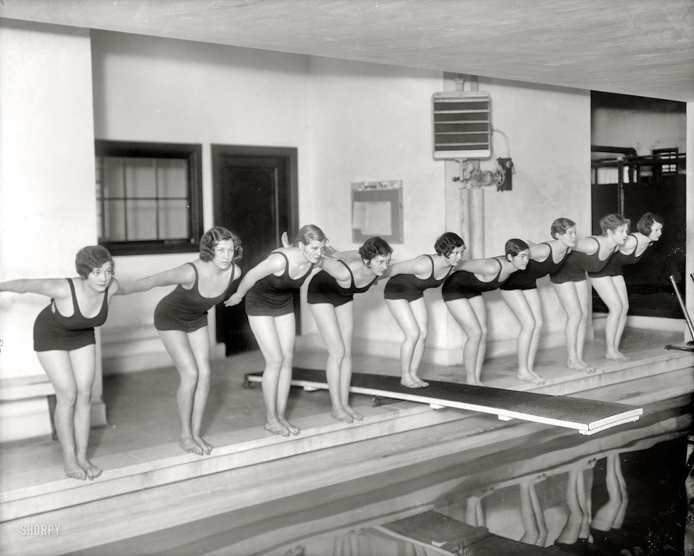 "Washington, D.C., circa 1930. ""Marjorie Webster School swimmers."" Harris & Ewing Collection glass negative."
