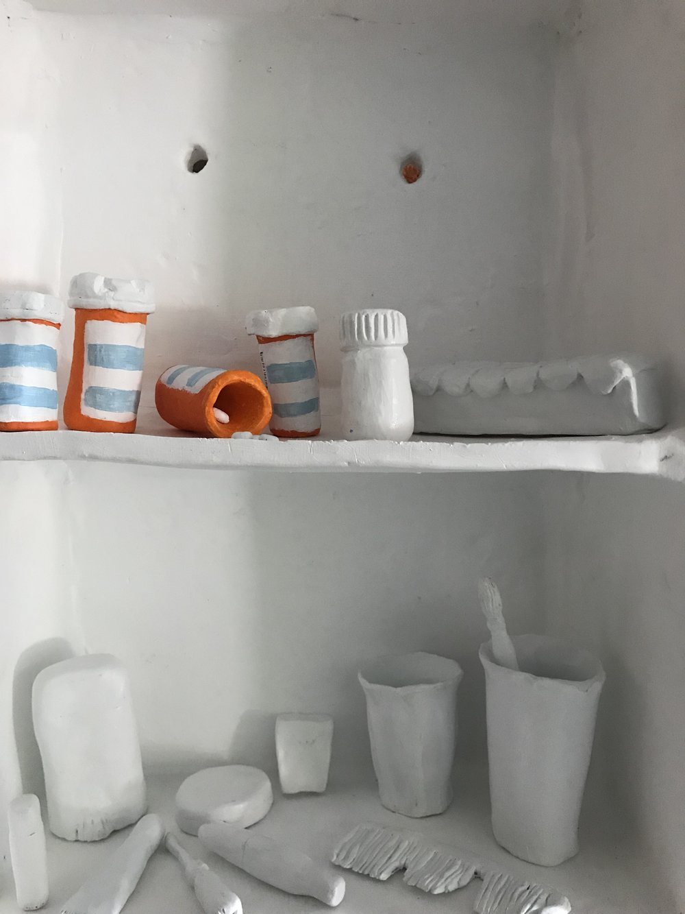 Katy Dai,  Insomnolence,  ceramic, acrylic paint and gloss, dimensions variable