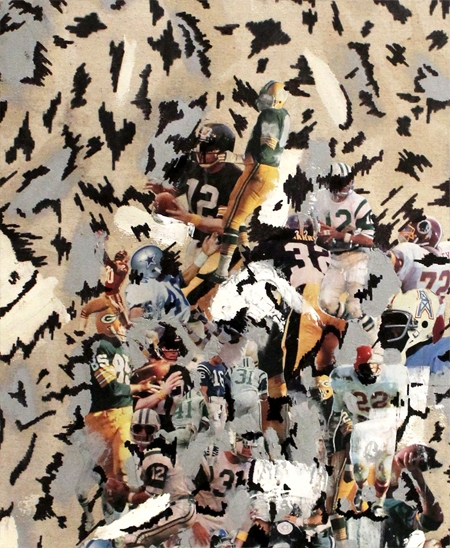 """Nick Fagan,  Football , Found images, Paint, Marker, Dry Wall, and Shellac, 24""""-2""""-36"""". 2014"""