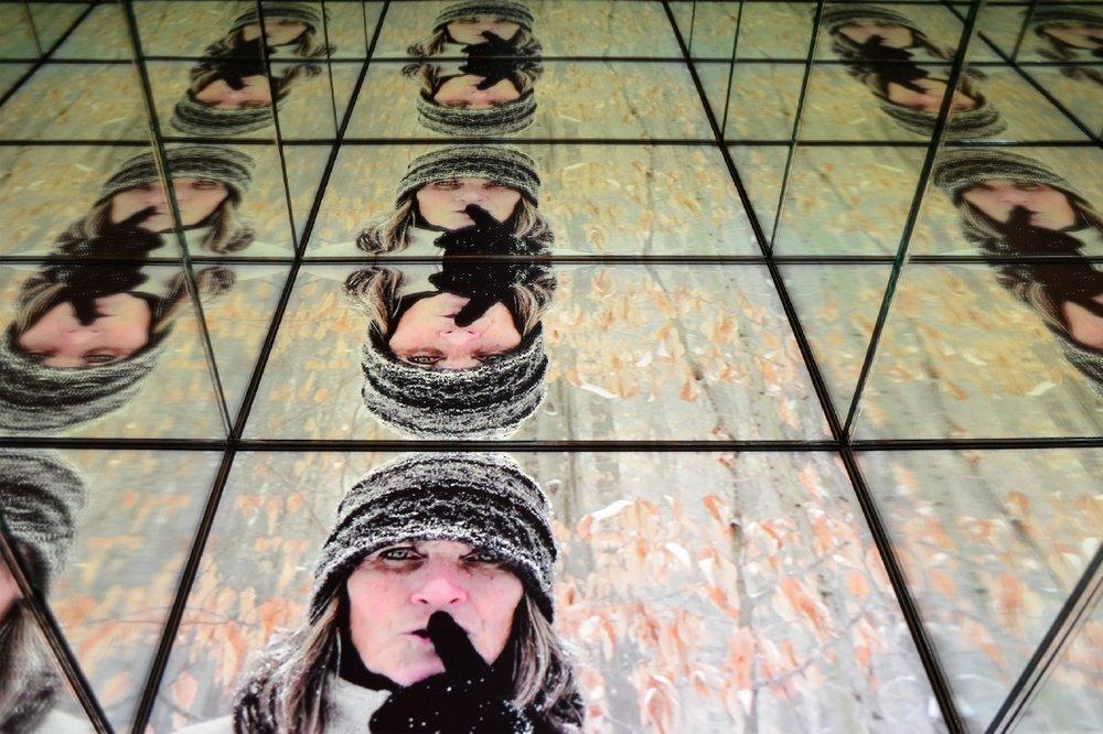 Scott Goss,  I Hear Static Instead of Silence , 2015, mirrors, steel, cloth, multimedia