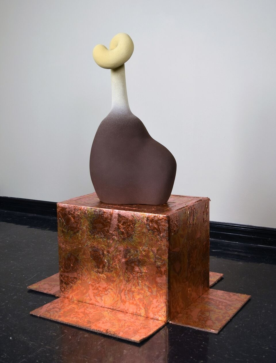 "Jessika Edgar,  Finger Plant , 2014, Ceramic, copper leaf, 39"" x 40"" x 13""."