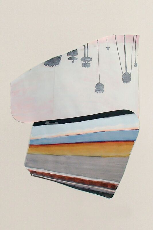 Elise P. Church,  L.A. Skyline , 2015, acrylic, ink and gesso on paper.