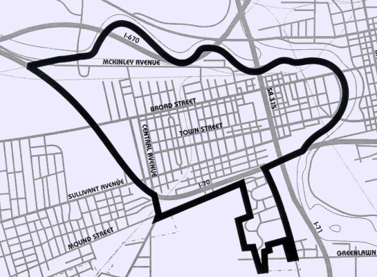 Boundary Map of Franklinton, Columbus, OH