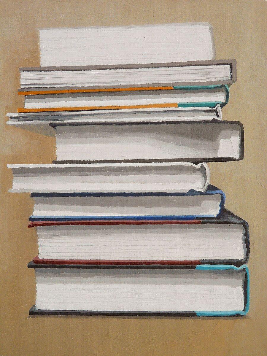 Jaye Schlesinger,  Stack of Hardcover Books , 2016, oil on panel.