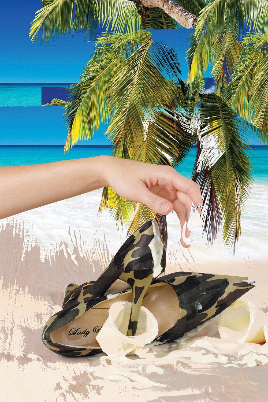 "Kara Gut,  Vanilla Beach II , 2017, adhesive vinyl inkjet print, 30"" x 40""."